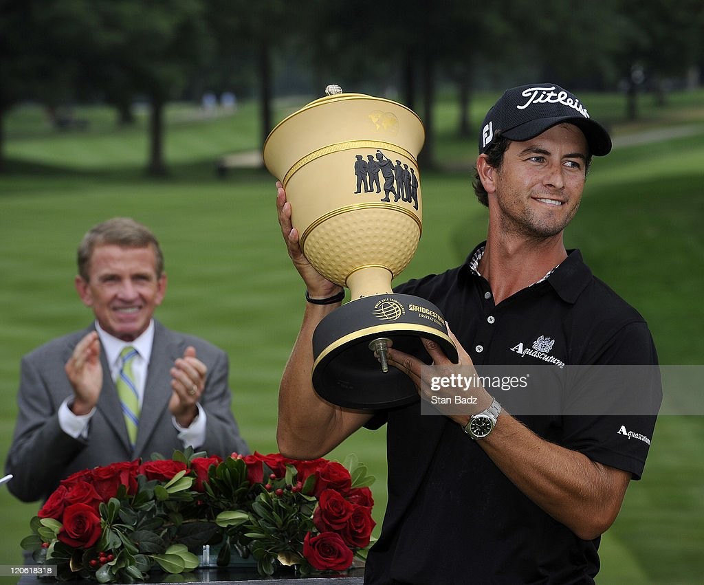<a gi-track='captionPersonalityLinkClicked' href=/galleries/search?phrase=Adam+Scott+-+Golfer&family=editorial&specificpeople=202039 ng-click='$event.stopPropagation()'>Adam Scott</a> of Australia celebrates with the Gary Player trophy during the final round of the World Golf Championships-Bridgestone Invitational at Firestone Country Club on August 7, 2011 in Akron, Ohio.