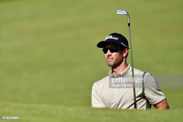 Adam Scott of Australia hits a bunker shot during a practice round prior to the 146th Open Championship at Royal Birkdale on July 18 2017 in...