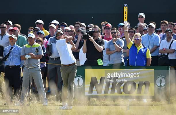 Adam Scott of Australia hits a shot during the first round of The 143rd Open Championship at Royal Liverpool on July 17 2014 in Hoylake England