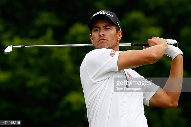 Adam Scott of Australia hits a shot on the 8th tee during the second round of the Crowne Plaza Invitational at the Colonial Country Club on May 22...