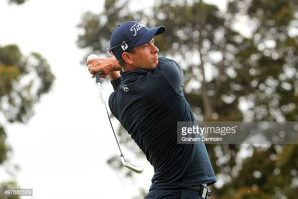 Adam Scott of Australia hits a tee shot during the ProAm ahead of the 2015 Australian Masters at Huntingdale Golf Course on November 18 2015 in...