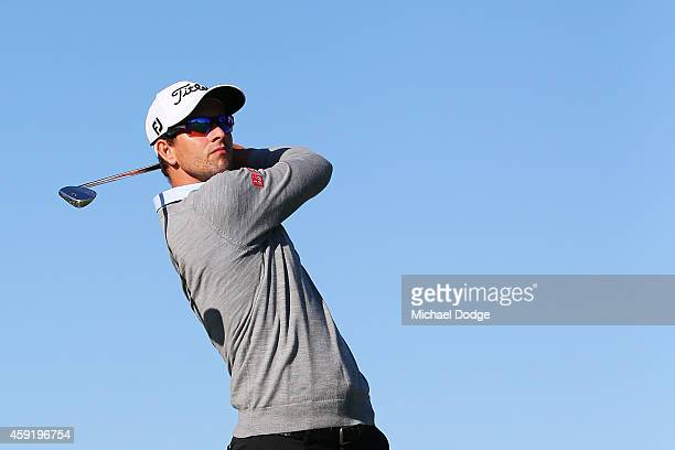 Adam Scott of Australia hits an approach shot during the ProAm ahead of the 2014 Australian Masters at The Metropolitan Golf Course on November 19...