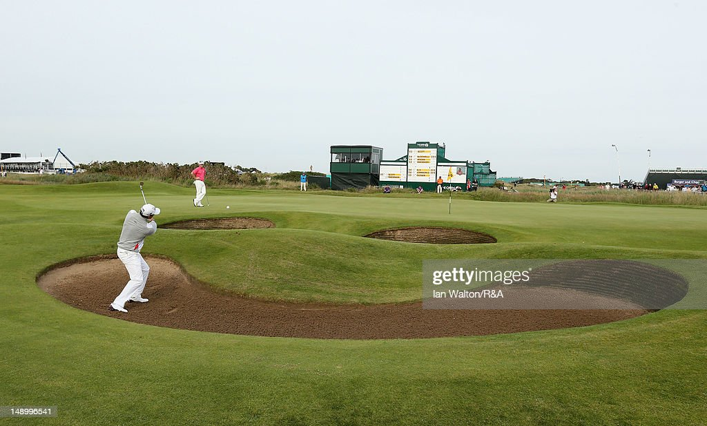 Adam Scott of Australia hits from a bunker on the 17th hole during the third round of the 141st Open Championship at Royal Lytham & St. Annes Golf Club on July 21, 2012 in Lytham St Annes, England.