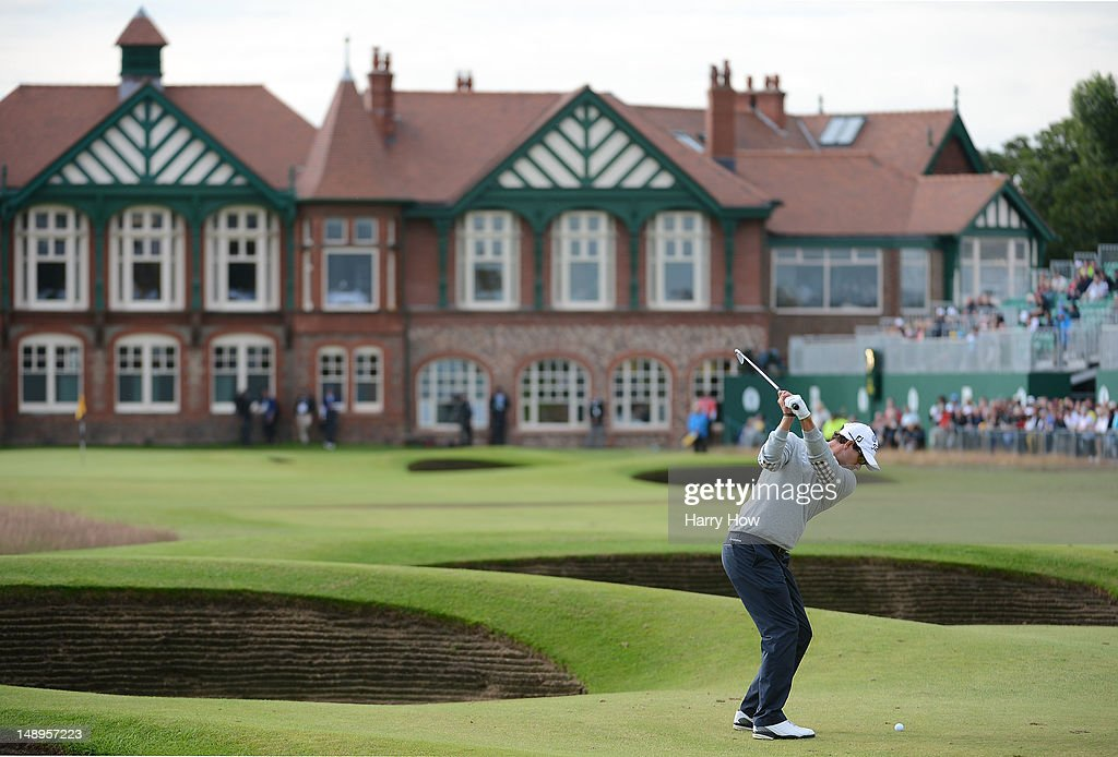 Adam Scott of Australia hits his approach on the 18th hole during the second round of the 141st Open Championship at Royal Lytham & St Annes Golf Club on July 20, 2012 in Lytham St Annes, England.