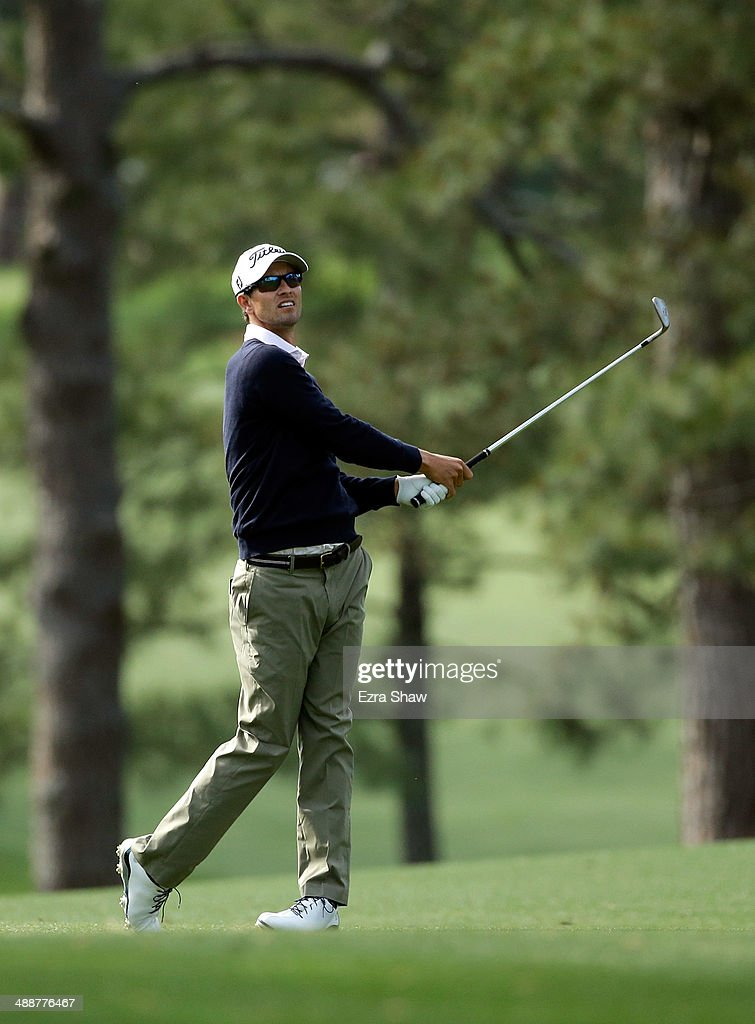 Adam Scott of Australia hits his approach shot on the 17th hole during a practice round at Augusta National Golf Club on April 8, 2014 in Augusta, Georgia.