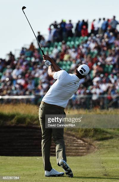 Adam Scott of Australia hits his second shot on the 14th hole during the first round of The 143rd Open Championship at Royal Liverpool on July 17...