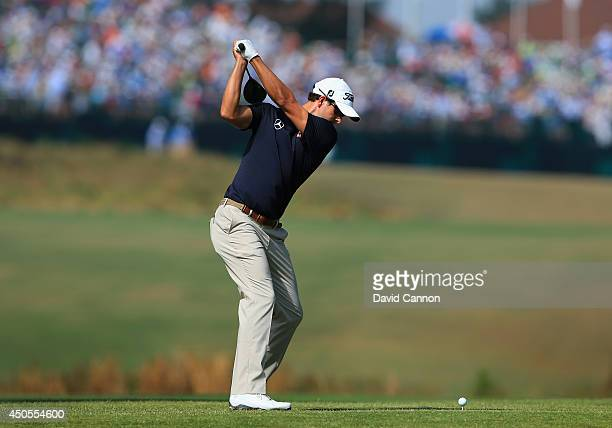 Adam Scott of Australia hits his second shot on the 16th hole during the second round of the 114th US Open at Pinehurst Resort Country Club Course No...