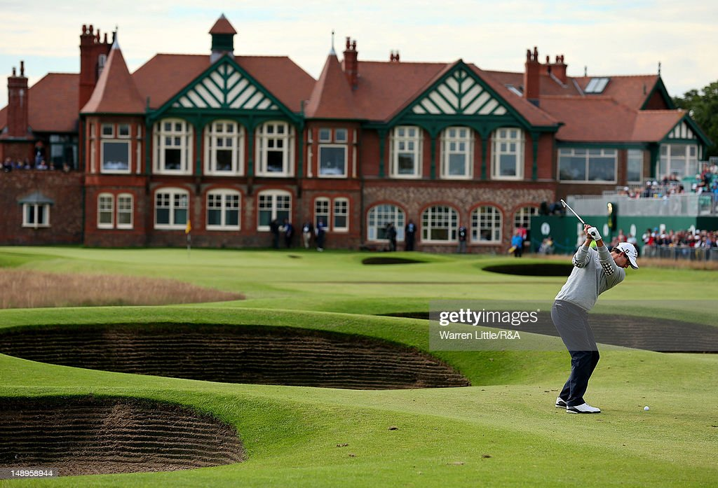 Adam Scott of Australia hits his second shot on the 18th hole during the second round of the 141st Open Championship at Royal Lytham & St Annes Golf Club on July 20, 2012 in Lytham St Annes, England.