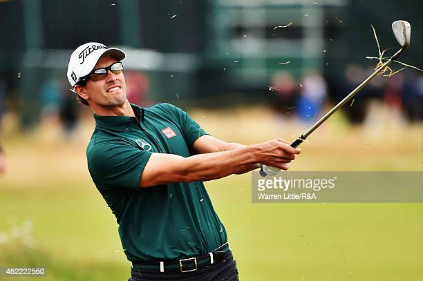 Adam Scott of Australia hits his second shot on the fifth hole during a practice round prior to the start of the 143rd Open Championship at Royal...