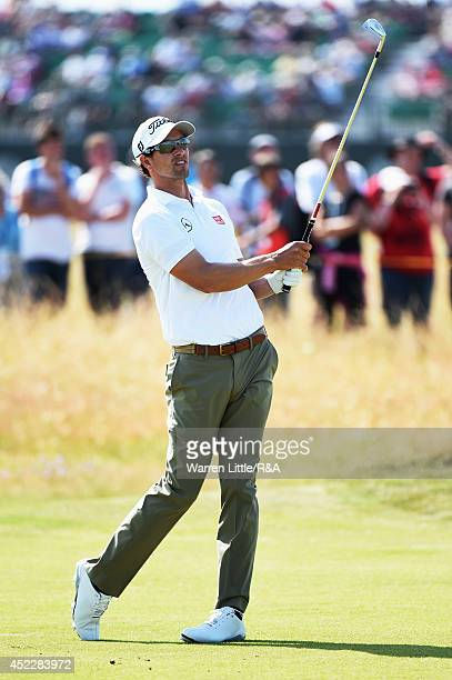 Adam Scott of Australia hits his second shot on the seventh hole during the first round of The 143rd Open Championship at Royal Liverpool on July 17...