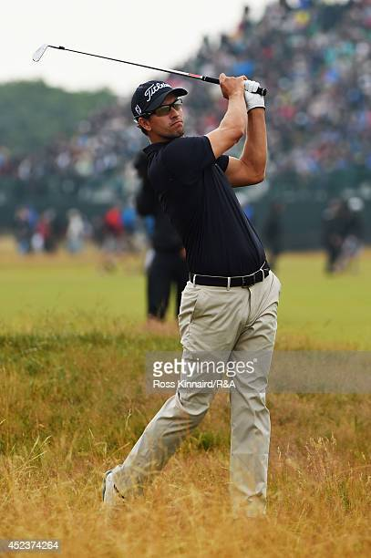 Adam Scott of Australia hits his seconds shot on the fifth hole during the third round of The 143rd Open Championship at Royal Liverpool on July 19...
