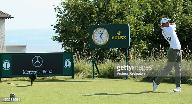 Adam Scott of Australia hits his tee shot on the 11th hole during the first round of The 143rd Open Championship at Royal Liverpool on July 17 2014...