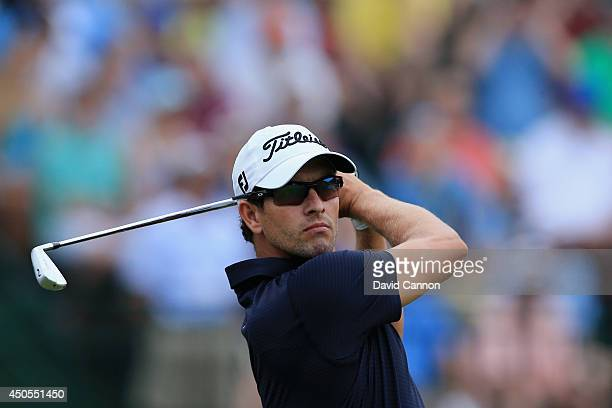 Adam Scott of Australia hits his tee shot on the 13th hole during the second round of the 114th US Open at Pinehurst Resort Country Club Course No 2...