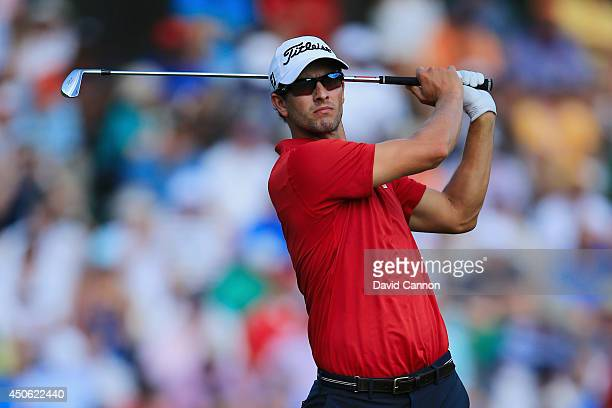 Adam Scott of Australia hits his tee shot on the 13th hole during the third round of the 114th US Open at Pinehurst Resort Country Club Course No 2...