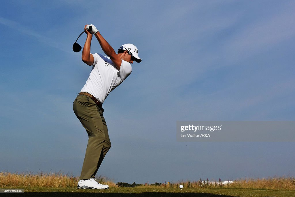 Adam Scott of Australia hits his tee shot on the 16th hole during the first round of The 143rd Open Championship at Royal Liverpool on July 17, 2014 in Hoylake, England.