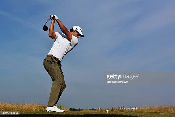 Adam Scott of Australia hits his tee shot on the 16th hole during the first round of The 143rd Open Championship at Royal Liverpool on July 17 2014...