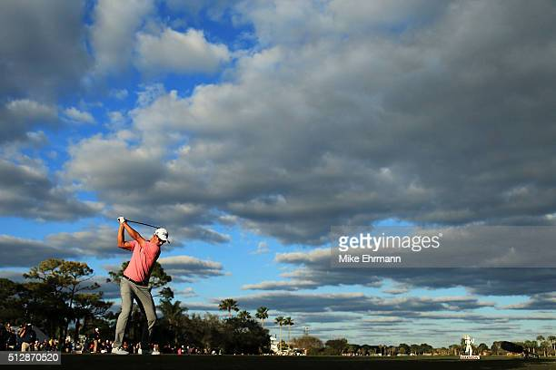 Adam Scott of Australia hits his tee shot on the 18th hole during the final round of the Honda Classic at PGA National Resort Spa Champions Course on...