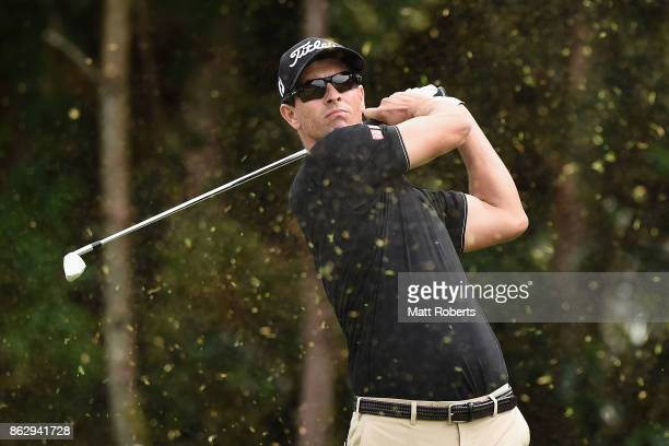 Adam Scott of Australia hits his tee shot on the 7th hole during the first round of the CJ Cup at Nine Bridges on October 19 2017 in Jeju South Korea