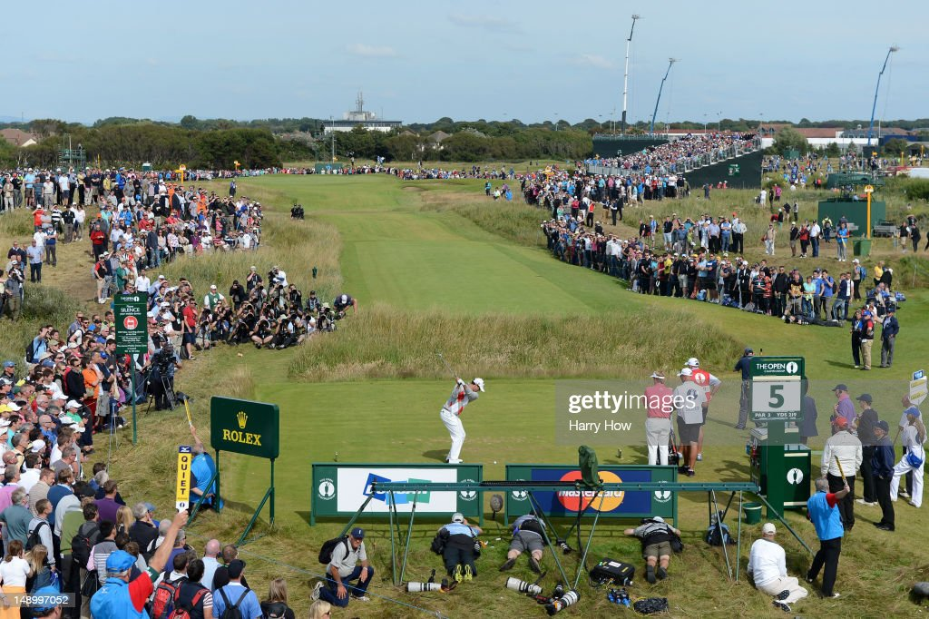 Adam Scott of Australia hits his tee shot on the fifth hole during the third round of the 141st Open Championship at Royal Lytham & St. Annes Golf Club on July 21, 2012 in Lytham St Annes, England.