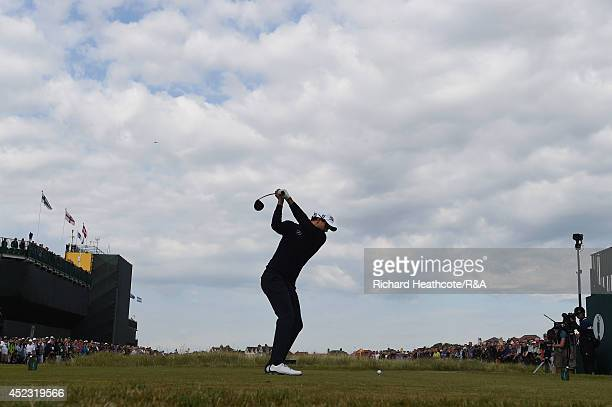 Adam Scott of Australia hits his tee shot on the first hole during the second round of The 143rd Open Championship at Royal Liverpool on July 18 2014...