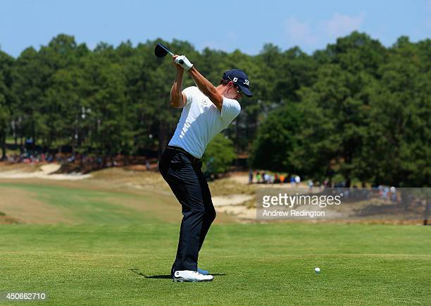 Adam Scott of Australia hits his tee shot on the fourth hole during the final round of the 114th US Open at Pinehurst Resort Country Club Course No 2...
