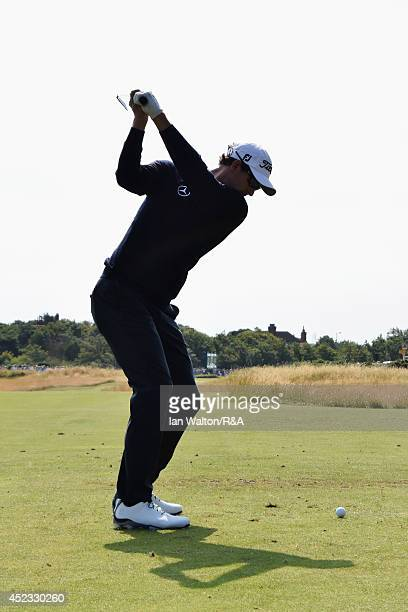 Adam Scott of Australia hits his tee shot on the fourth hole during the second round of The 143rd Open Championship at Royal Liverpool on July 18...