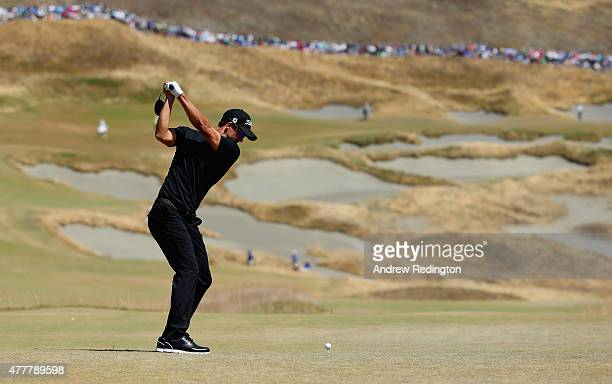 Adam Scott of Australia hits his tee shot on the fourth hole during the second round of the 115th US Open Championship at Chambers Bay on June 19...