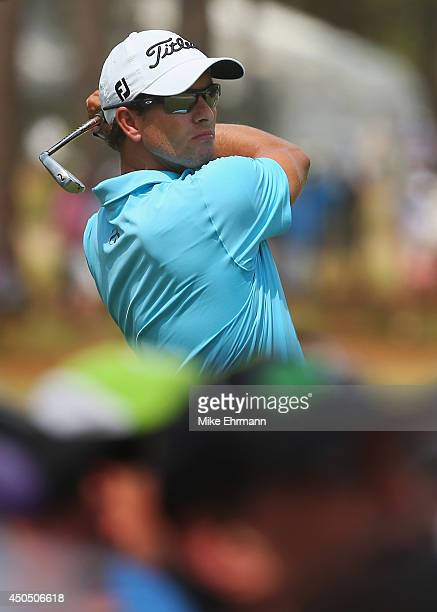 Adam Scott of Australia hits his tee shot on the seventh hole during the first round of the 114th US Open at Pinehurst Resort Country Club Course No...