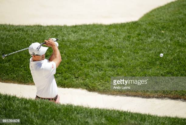 Adam Scott of Australia hits his third shot on the 17th hole during the first round of the Memorial Tournament at Muirfield Village Golf Club on June...