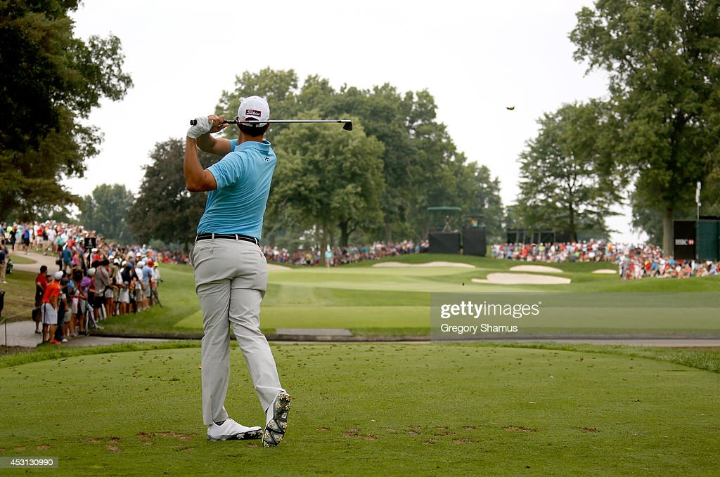 Adam Scott of Australia hits off the seventh tee during the final round of the World Golf Championships-Bridgestone Invitational at Firestone Country Club South Course on August 3, 2014 in Akron, Ohio.