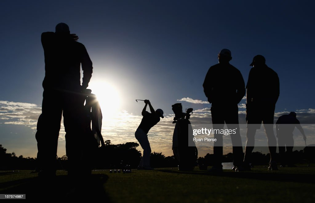 Adam Scott of Australia hits on the practice range before the Pro-Am ahead of the 2012 Australian Open, beginning tomorrow, at The Lakes Golf Club on December 5, 2012 in Sydney, Australia.
