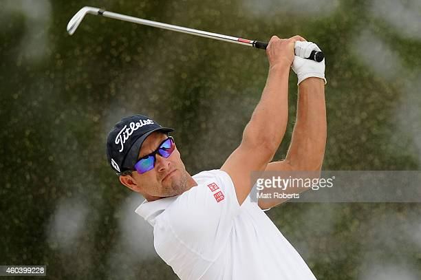 Adam Scott of Australia hits out of the bunker on the 9th hole during day three of the 2014 Australian PGA Championship at Royal Pines Resort on...