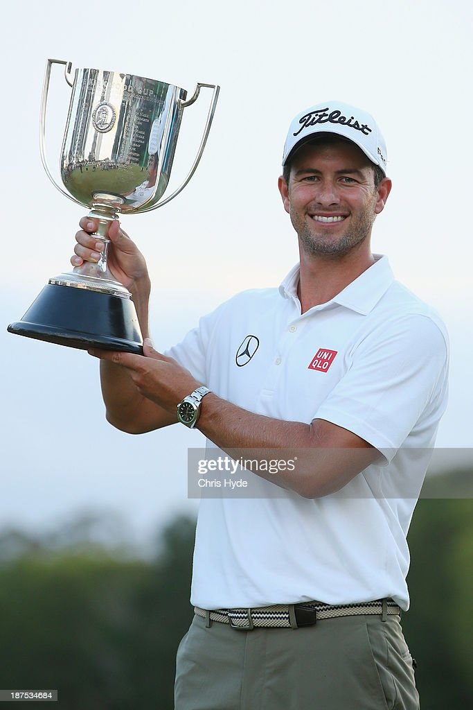 Adam Scott of Australia holds the kirkwood cup after winning the PGA Royal Pines on November 10, 2013 in Gold Coast, Australia.