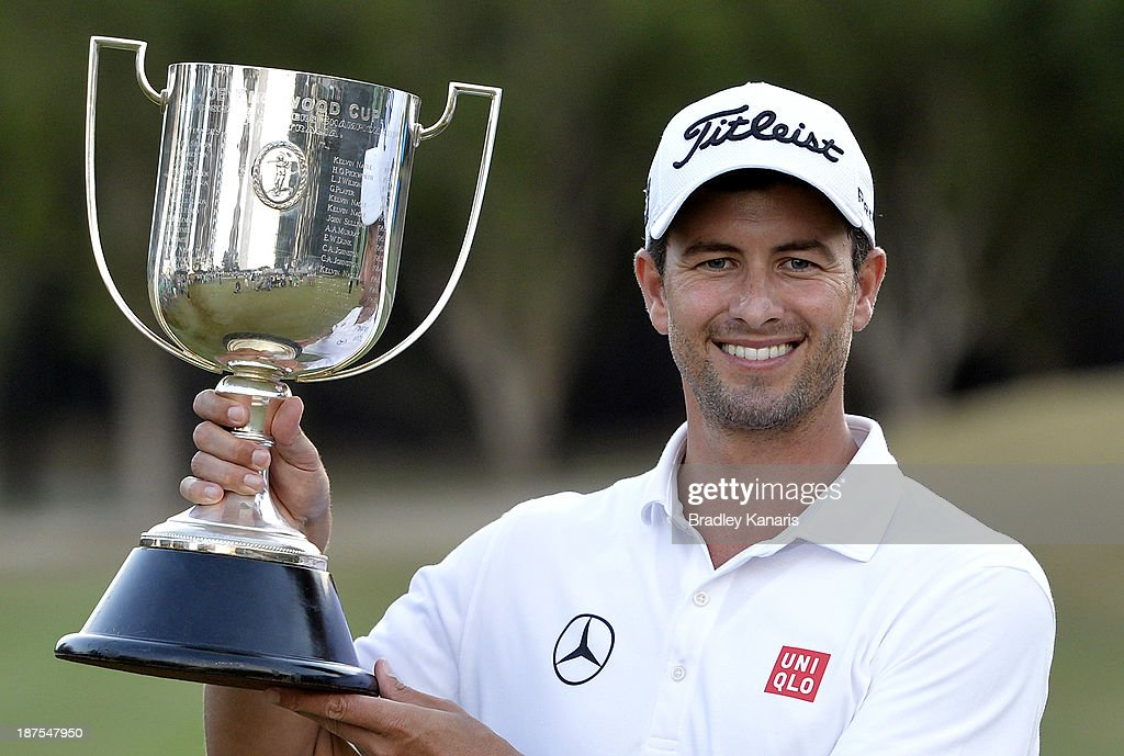 Adam Scott of Australia holds up the Kirkwood Cup as he celebrates victory during day four of the PGA Royal Pines on November 10, 2013 in Gold Coast, Australia.