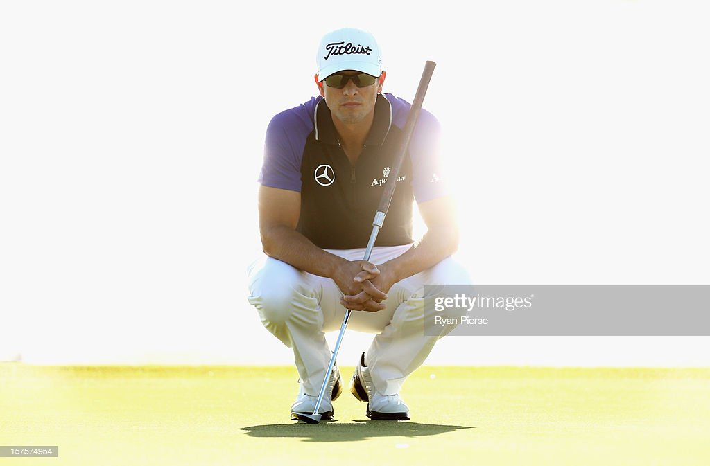 Adam Scott of Australia lines up a putt during the Pro-Am ahead of the 2012 Australian Open, beginning tomorrow, at The Lakes Golf Club on December 5, 2012 in Sydney, Australia.