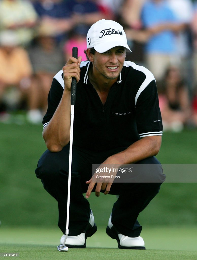 Adam Scott of Australia lines up his final winning putt on the 18th hole during the final round of the Shell Houston Open on April 1 2007 at the...