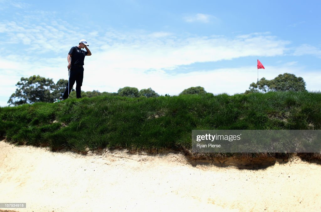 Adam Scott of Australia looks on during round three of the 2012 Australian Open at The Lakes Golf Club on December 8, 2012 in Sydney, Australia.