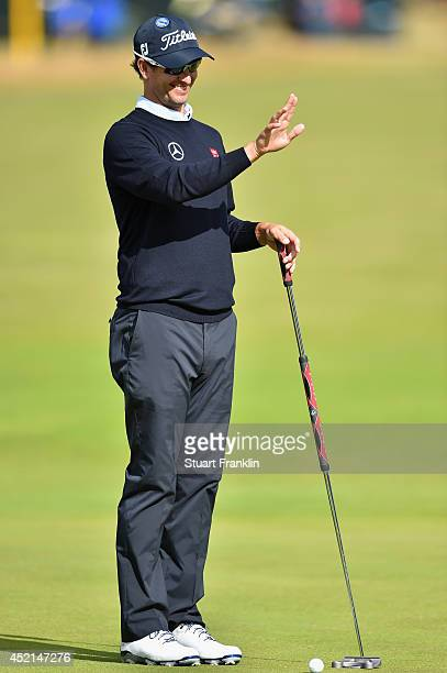 Adam Scott of Australia looks over a green during a practice round prior to the start of the 143rd Open Championship at Royal Liverpool on July 14...