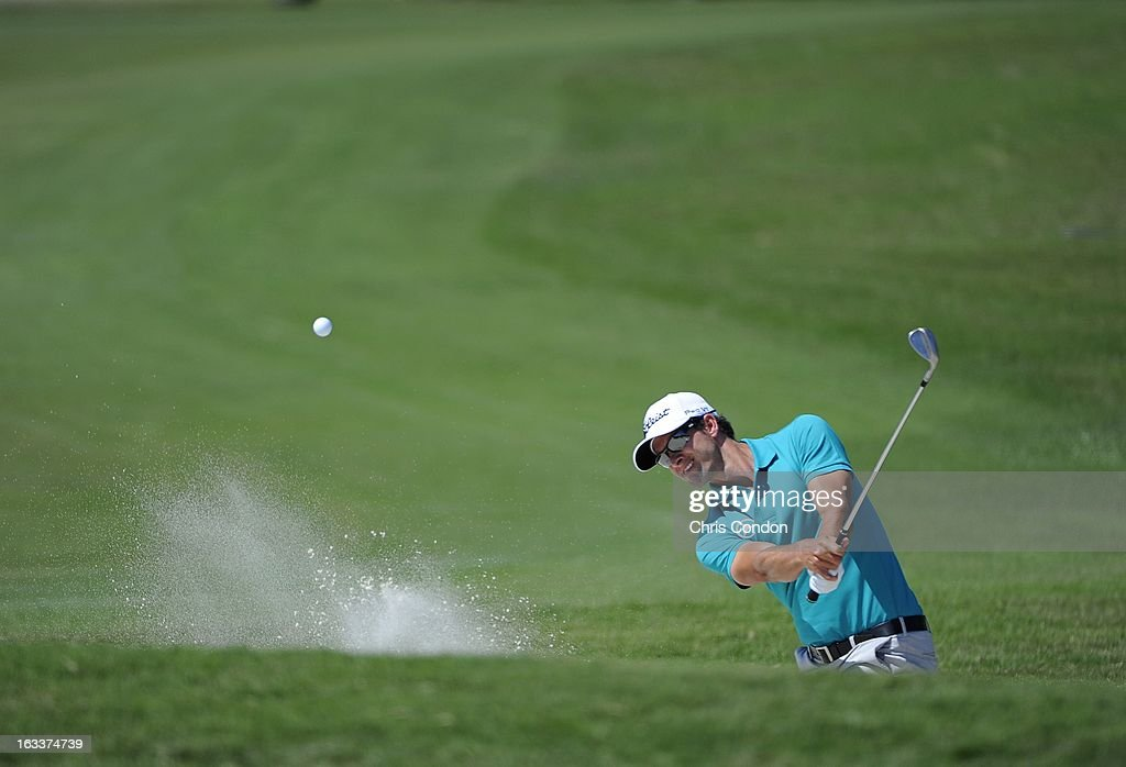 Adam Scott of Australia on the 16th hole during the second round of the World Golf Championships-Cadillac Championship at TPC Blue Monster at Doral on March 8, 2013 in Doral, Florida.