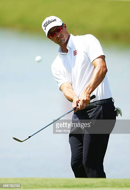 Adam Scott of Australia pitches on the 9th hole during day one of the 2015 Australian Open at The Australian Golf Club on November 26 2015 in Sydney...