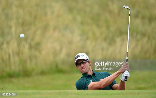 Adam Scott of Australia plays a shot during a practice round prior to the start of The 143rd Open Championship at Royal Liverpool on July 16 2014 in...