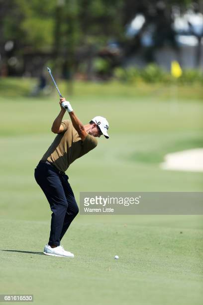Adam Scott of Australia plays a shot during a practice round prior to THE PLAYERS Championship at the Stadium course at TPC Sawgrass on May 10 2017...