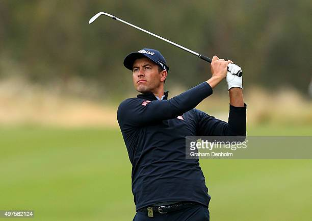 Adam Scott of Australia plays a shot from the fairway during the ProAm ahead of the 2015 Australian Masters at Huntingdale Golf Course on November 18...