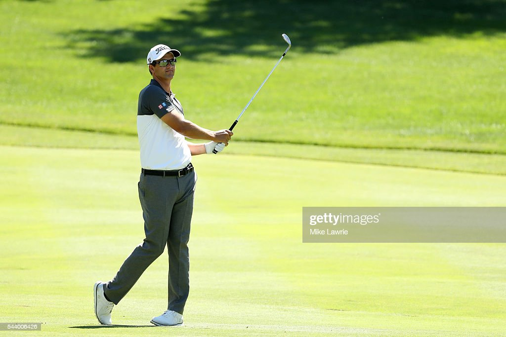 <a gi-track='captionPersonalityLinkClicked' href=/galleries/search?phrase=Adam+Scott+-+Golfer&family=editorial&specificpeople=202039 ng-click='$event.stopPropagation()'>Adam Scott</a> of Australia plays a shot on the 16th hole during the first round of the World Golf Championships - Bridgestone Invitational at Firestone Country Club South Course on June 30, 2016 in Akron, Ohio.
