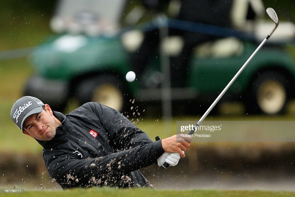 Adam Scott of Australia plays a shot on the 4th hole during the Pro Am ahead of the 2013 Australian Masters at Royal Melbourne Golf Course on November 13, 2013 in Melbourne, Australia.