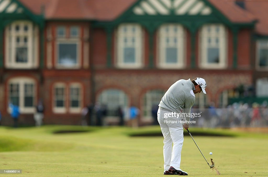 Adam Scott of Australia plays his approach shot on the eighteenth green during the third round of the 141st Open Championship at Royal Lytham & St. Annes Golf Club on July 21, 2012 in Lytham St Annes, England.