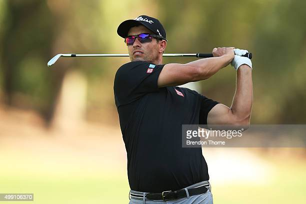 Adam Scott of Australia plays his fairway shot on the 16th hole during day four of the Australian Open at The Australian Golf Club on November 29...