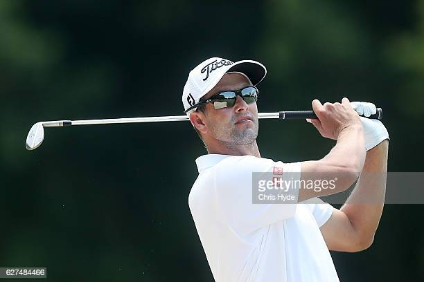 Adam Scott of Australia plays his second shot during day four of the 2016 Australian PGA Championship at RACV Royal Pines Resort on December 4 2016...