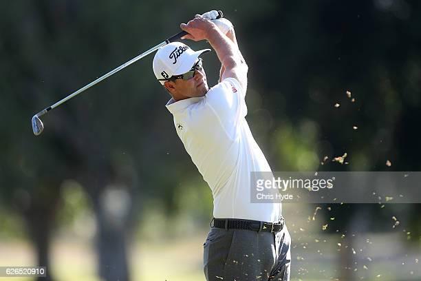 Adam Scott of Australia plays his second shot during the ProAm ahead of the 2016 Australian PGA Championship at RACV Royal Pines Resort on November...