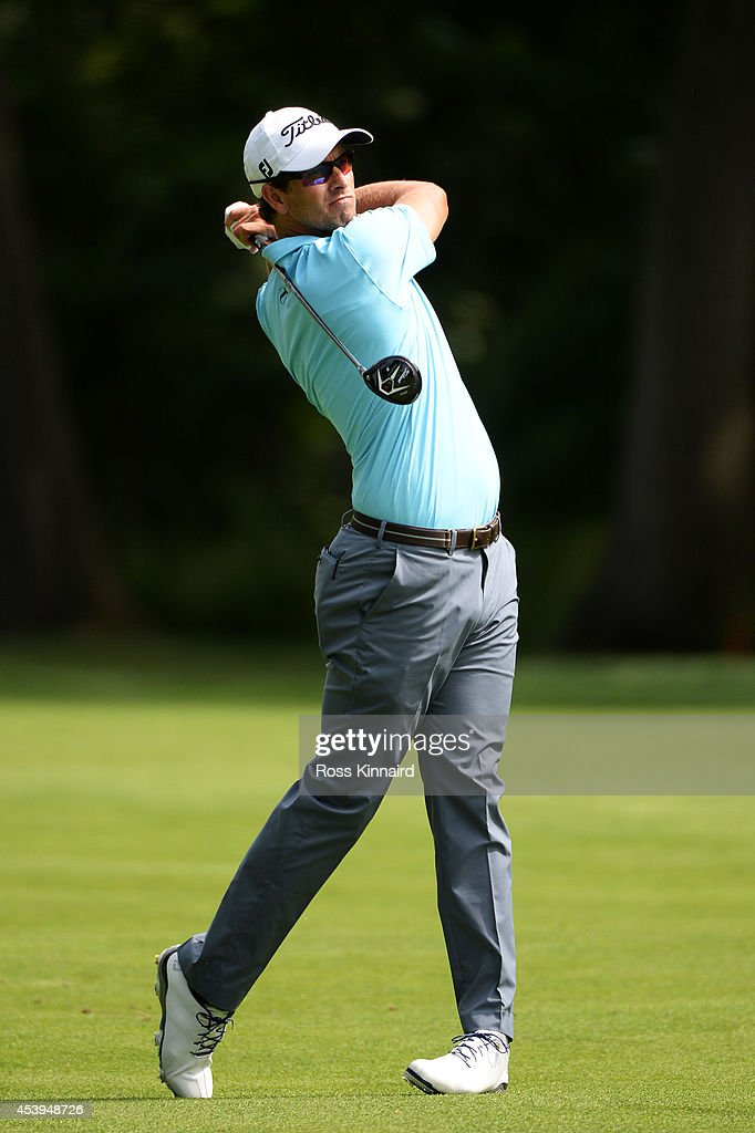 Adam Scott of Australia plays his second shot on the third hole during the first round of The Barclays at The Ridgewood Country Club on August 21, 2014 in Paramus, New Jersey.